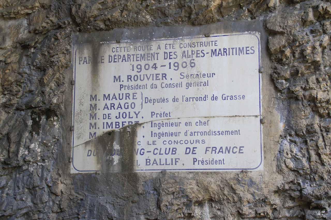 We noticed this sign while standing next to the tunnel besides Cascade de Courmes