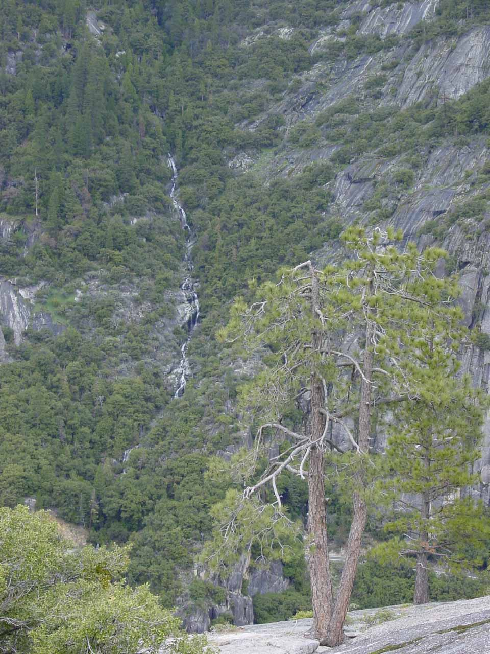 Some thin cascade seen from Turtleback Dome in April 2005