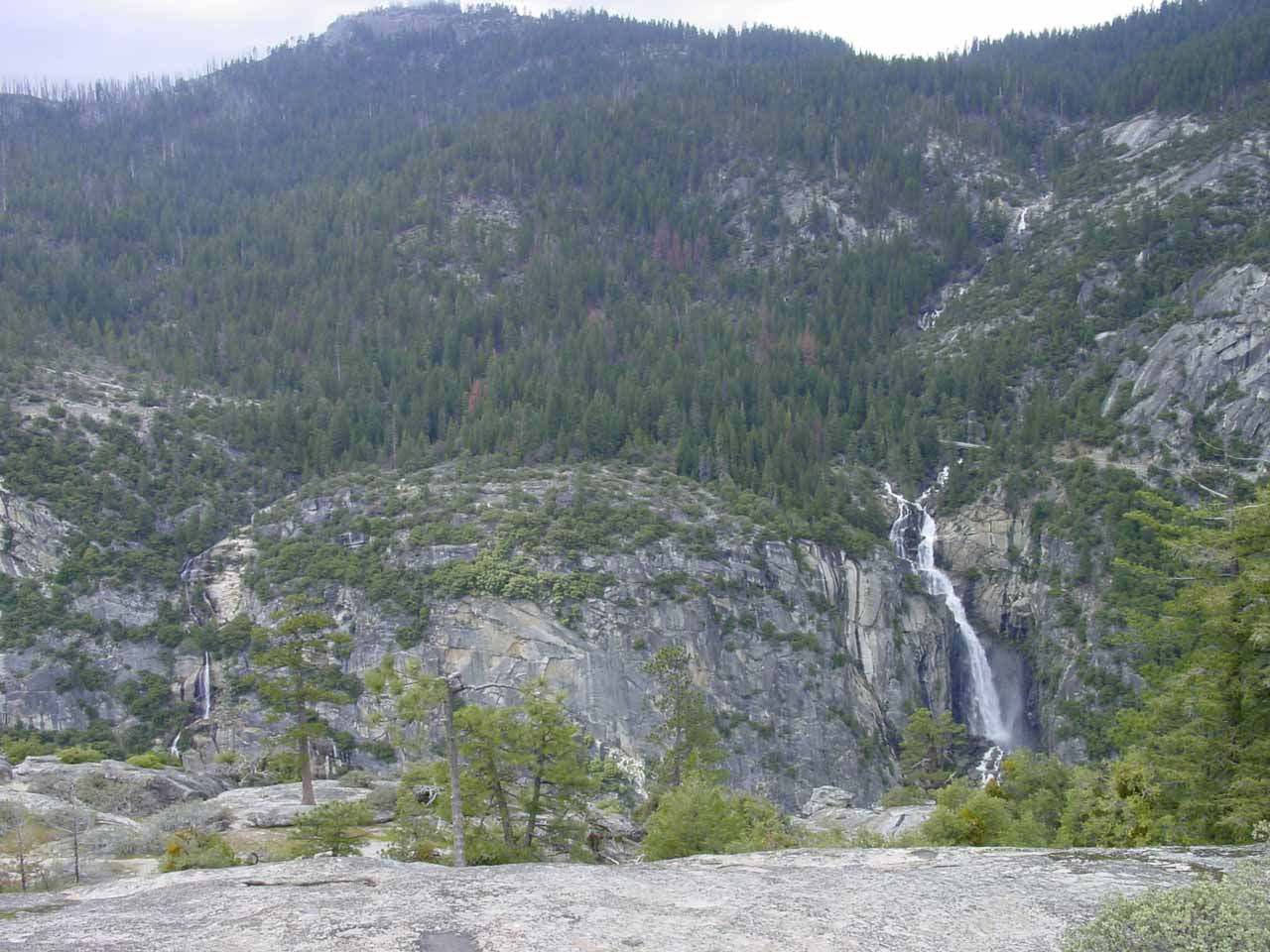 Wildcat Falls (left) and Cascade Falls (right) from Turtleback Dome