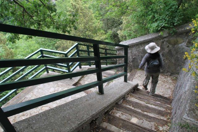 Cascata_del_Rio_Verde_019_20130521 - Julie descending steps towards the lookout for the Cascata del Rio Verde