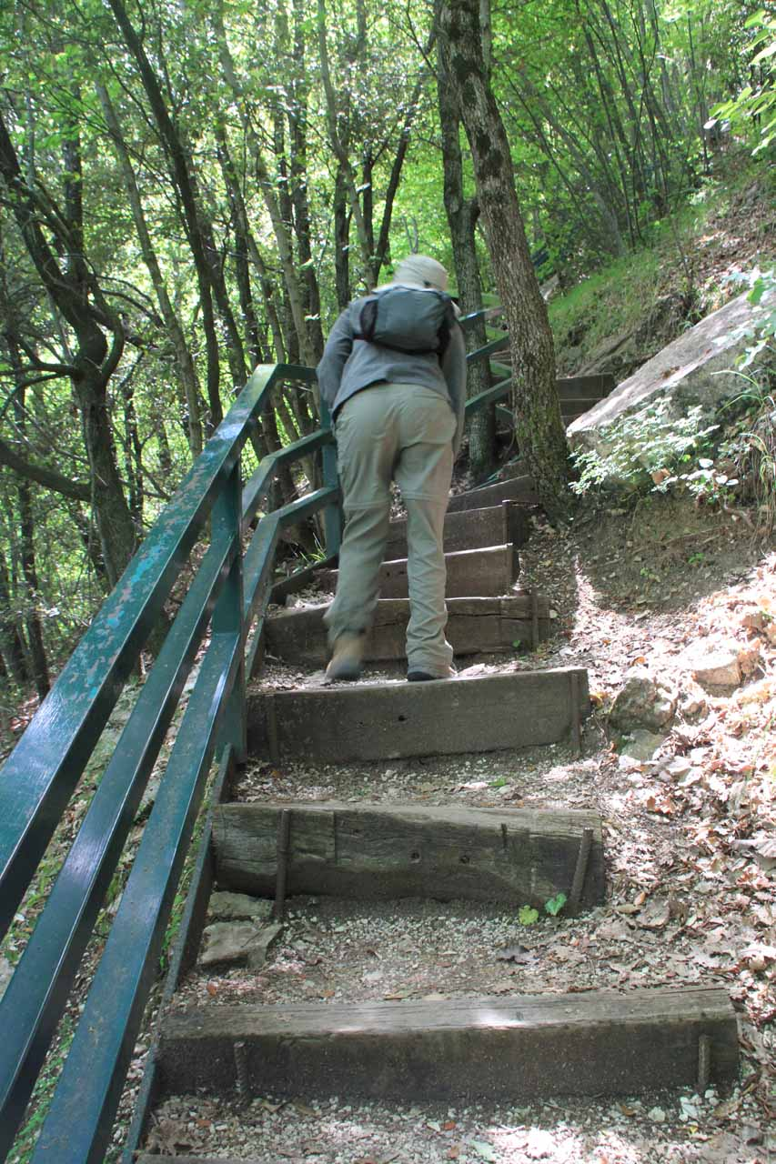 After all that descending on steps, we had to get back the elevation loss by taking the same steps back up!
