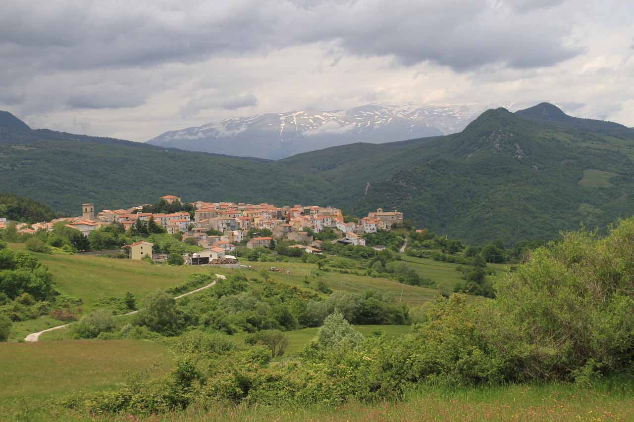 A pleasant surprise on the Cascata del Rio Verde excursion was this view of the town of Borrello fronting some snow-capped mountains of the Apennines