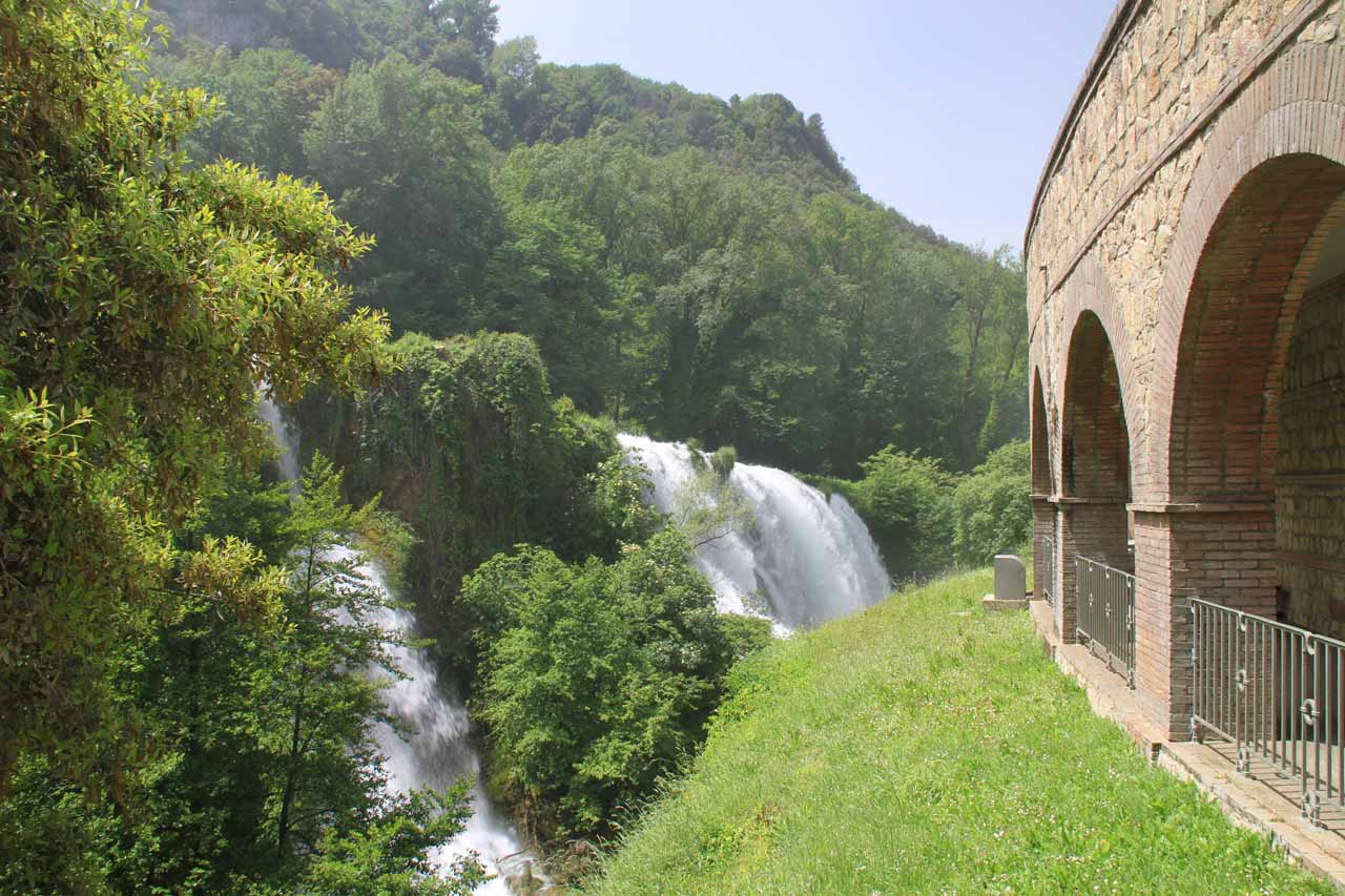 Looking outside the sheltered walkway towards some of the lower tiers of Cascata delle Marmore
