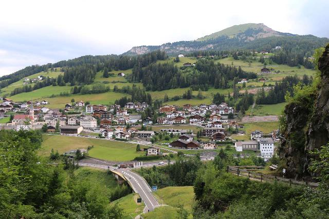 Cascata_di_Tervela_039_07162018 - Looking across parts of Santa Cristina di Val Val Gardena from the base of the Cascata Tervela