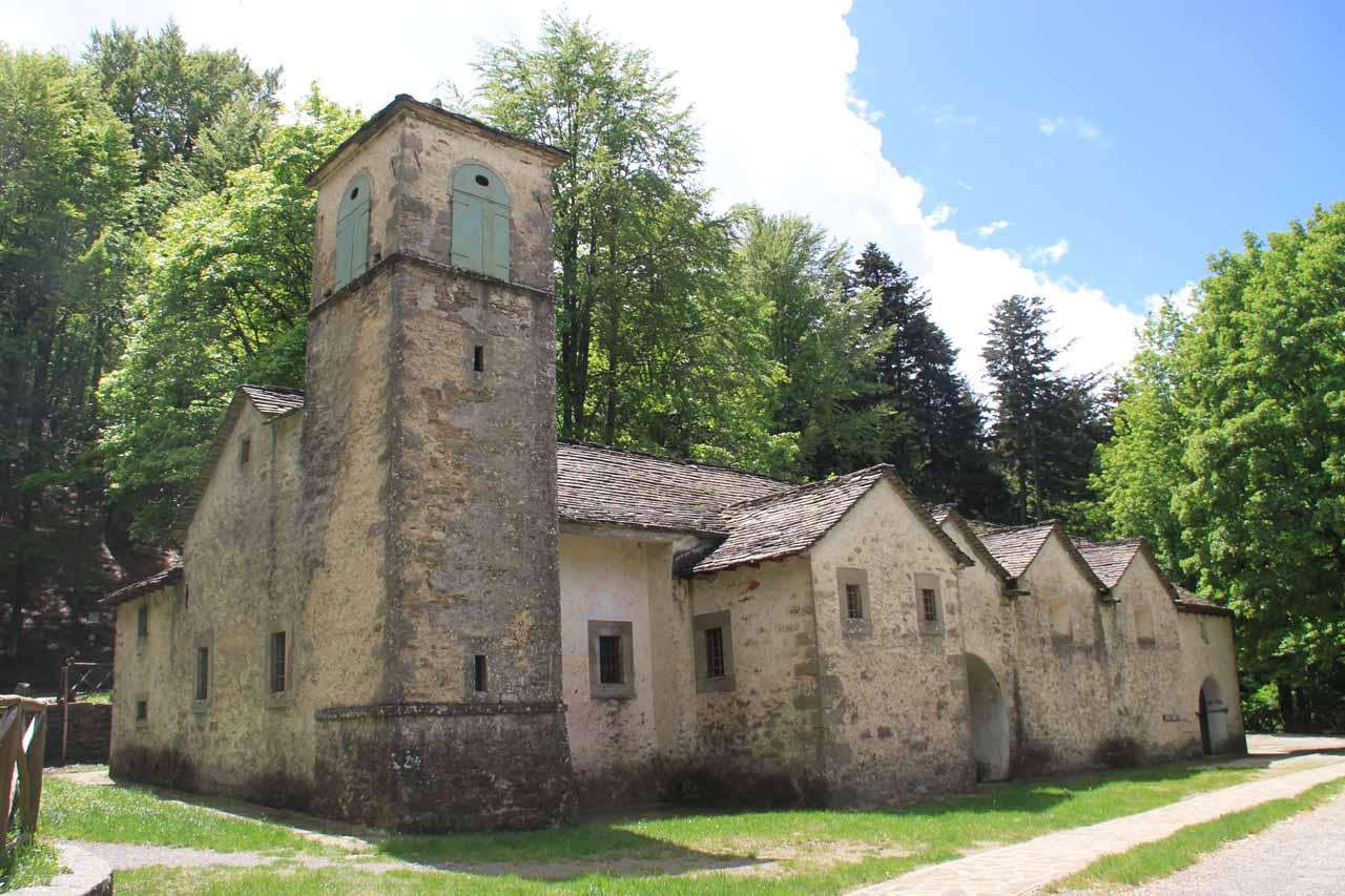 This building right at the trailhead of Cascate del Dardagna is Il Santuario di Madonna dell'Acero (Sanctuary of Madonna of the Acero)