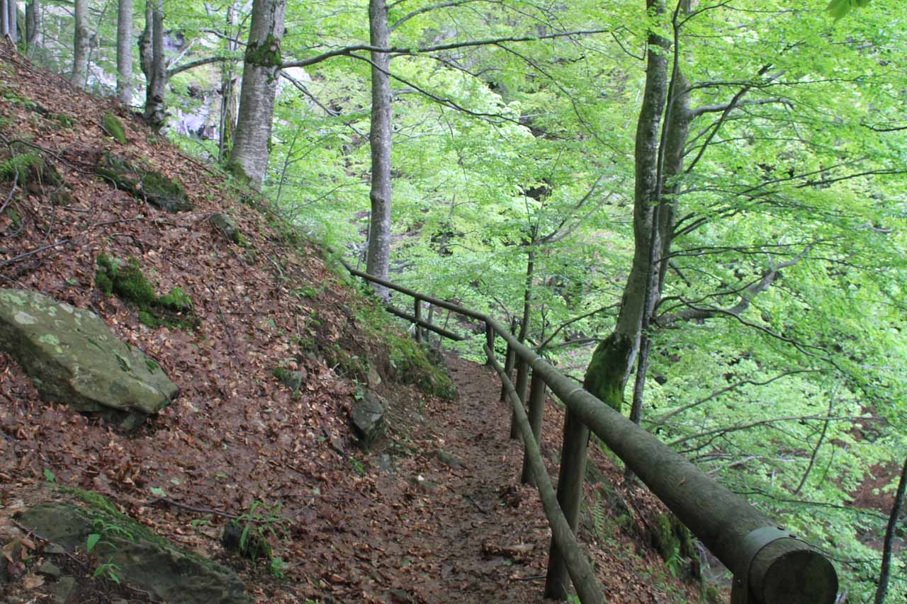 The steep and narrow trail beyond the first waterfall