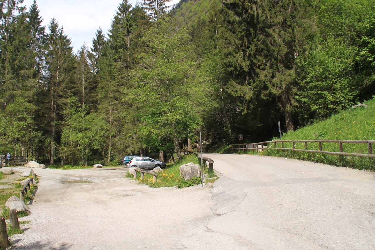The car park right before Cascate di Nardis