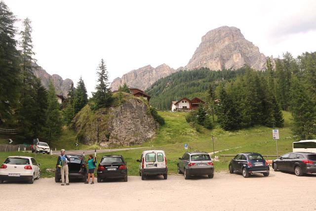 Cascate_di_Pisciadu_035_07162018 - Looking towards the car park in front of the Colfosco Adventure Park, which was backed by attractive Dolomite mountains