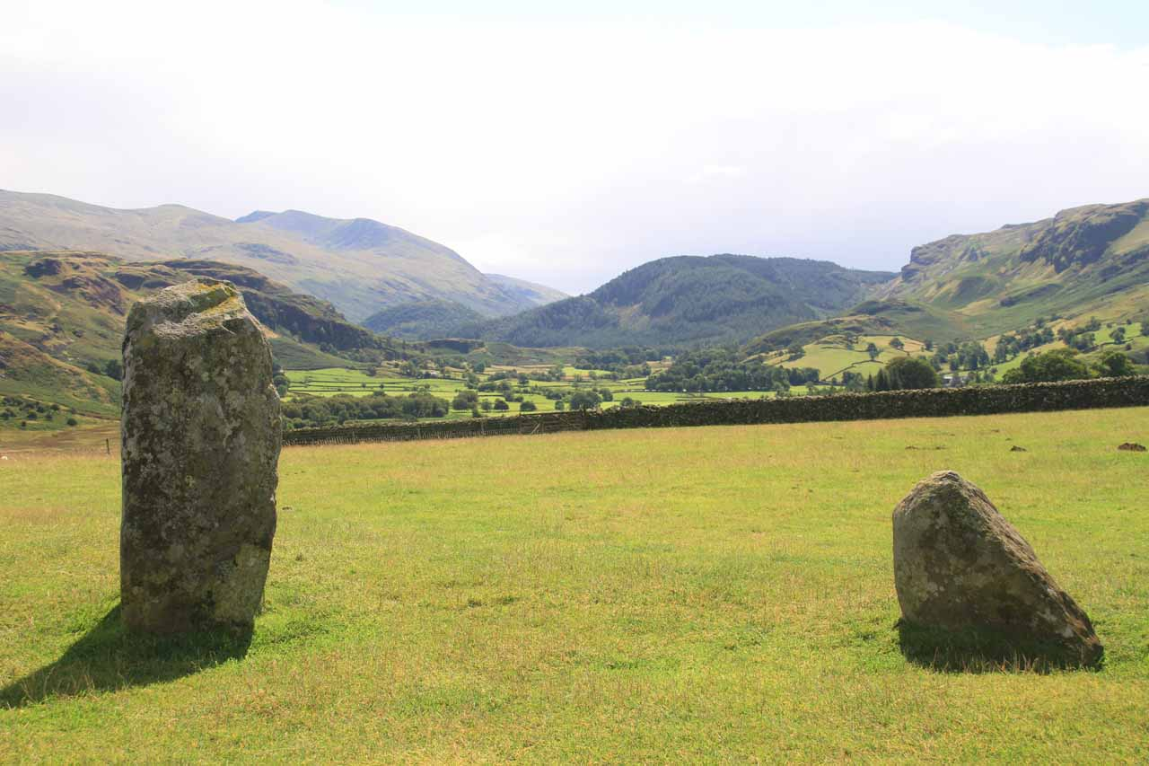 Looking towards a valley from the Castlerigg Stone Circle
