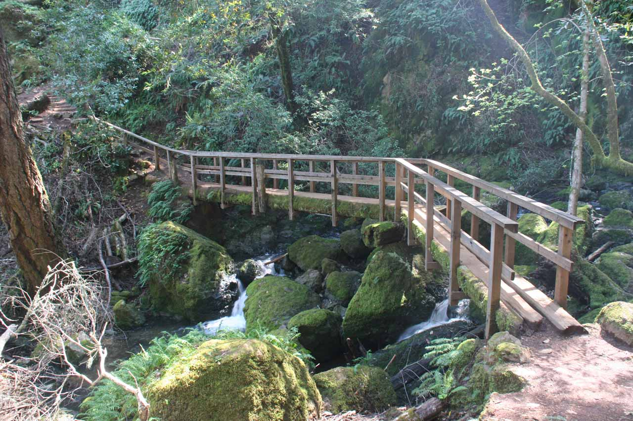 After the lower set of cascades, the trail crosses over the creek via this bridge