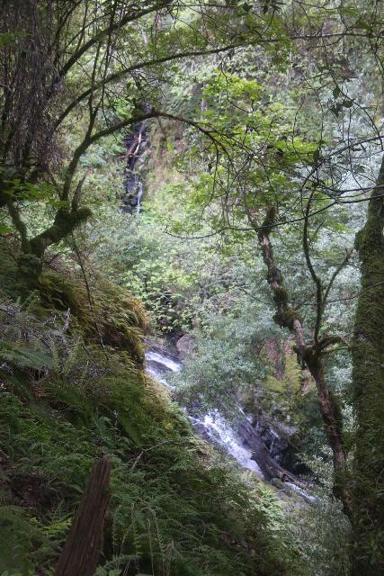 Cataract_Falls_117_04212019 - Looking across the top of a sloping waterfall fed by a smaller and thinner temporary waterfall as seen along the Cataract Creek Trail
