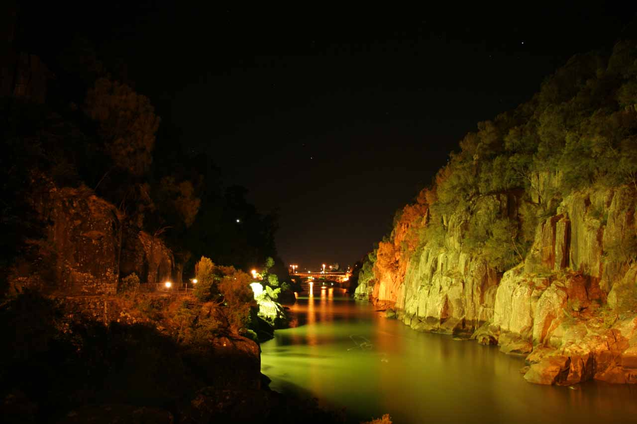 Within the lit up confines of the Cataract Gorge in Launceston
