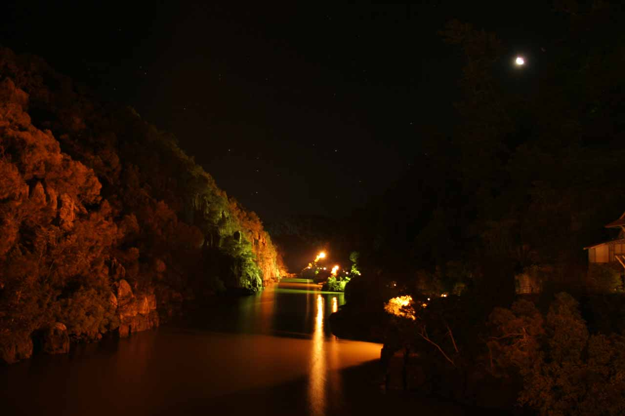 Another look at the Cataract Gorge at night under the moon