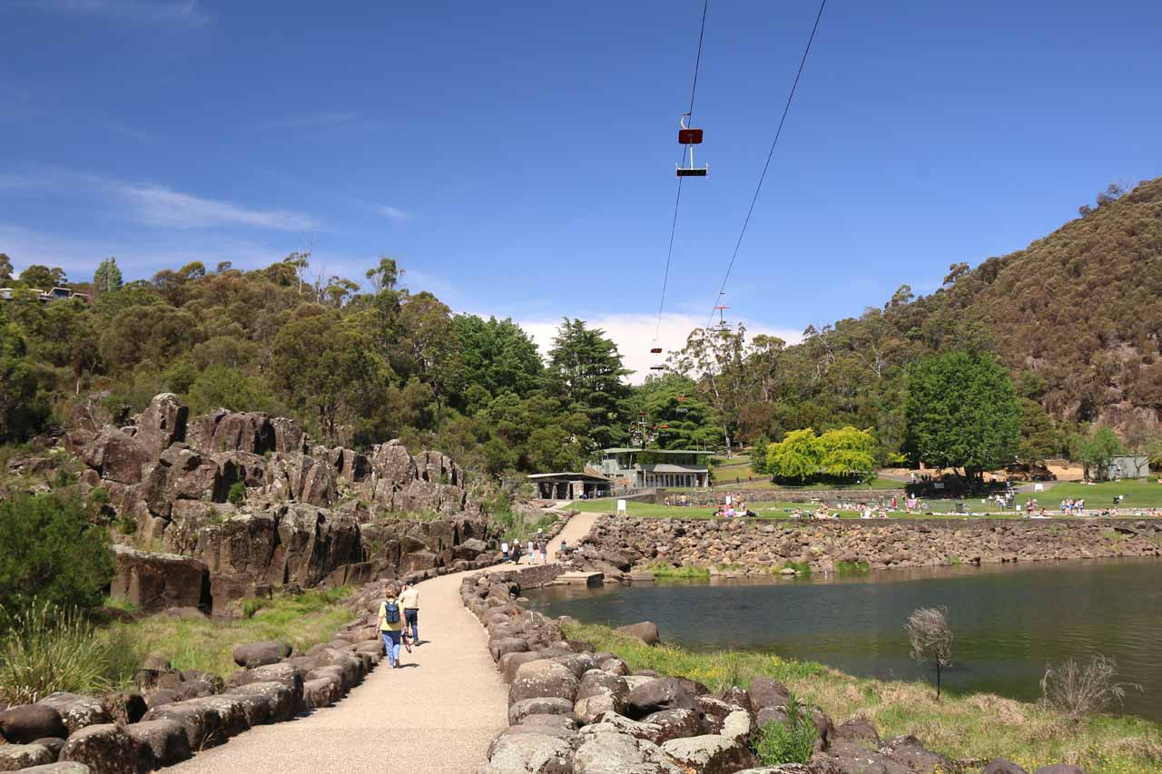 On our second visit, we drove to Meetus Falls from Launceston, which was best known for the Cataract Gorge, where locals and tourists alike were enjoying the scenery and the recreation on offer