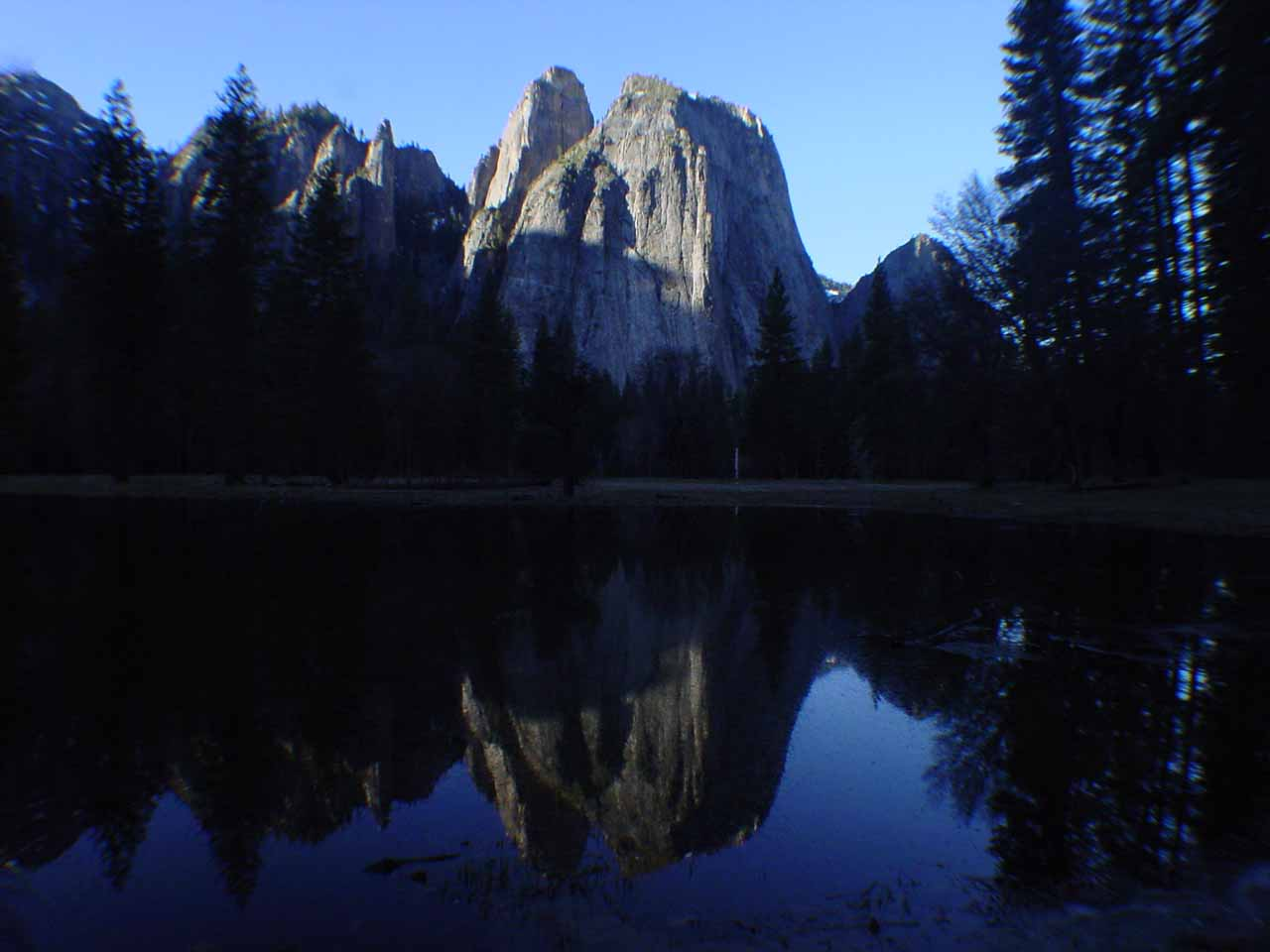 Just to the east of Bridalveil Fall was the impressive Cathedral Rock and Cathedral Spires seen here across the meadow in morning reflections from right at the base of El Capitan