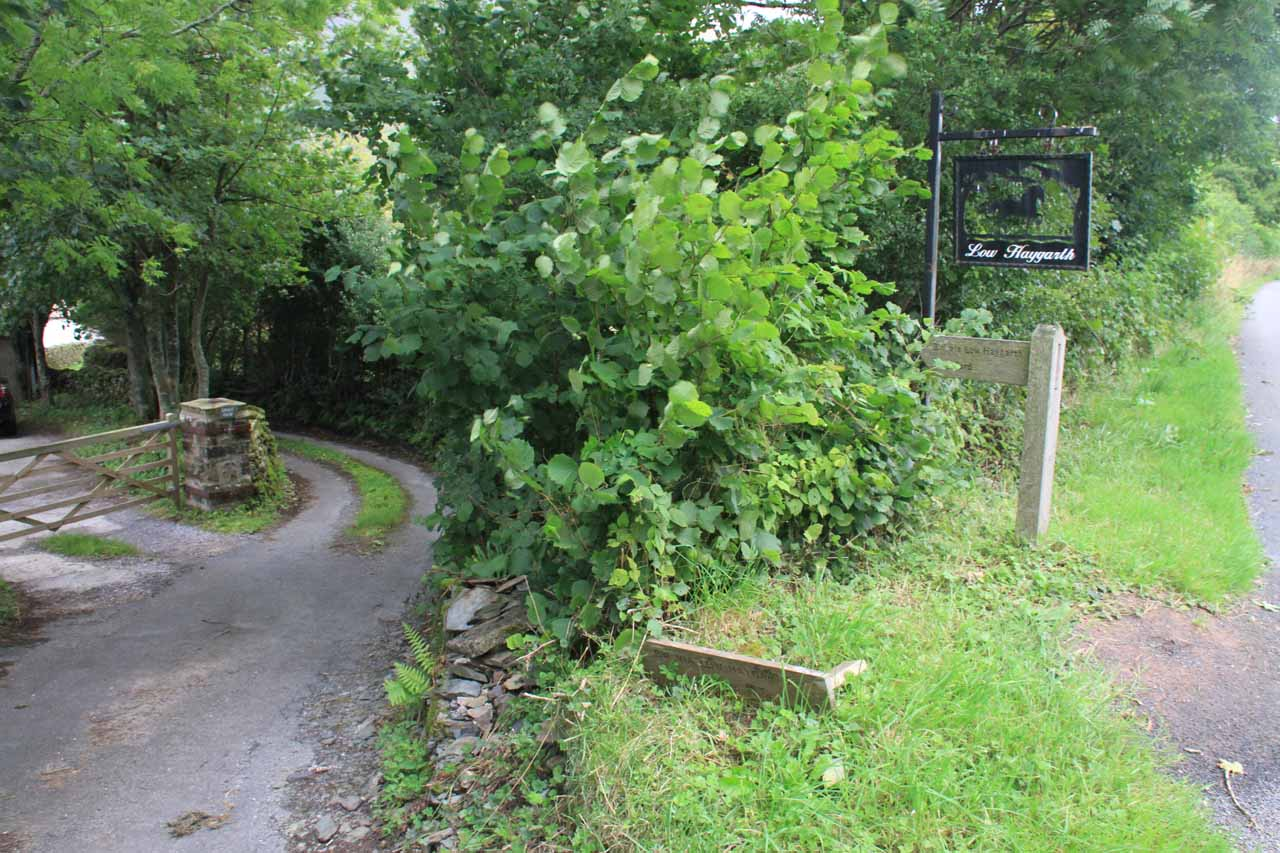 The entrance to the Low Haysgarth property where the public footpath crossed into towards Cautley Spout