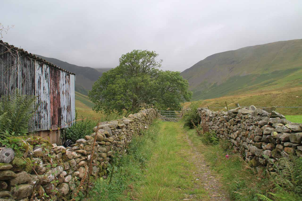 Walking through the Low Haysgarth property to get closer to Cautley Spout