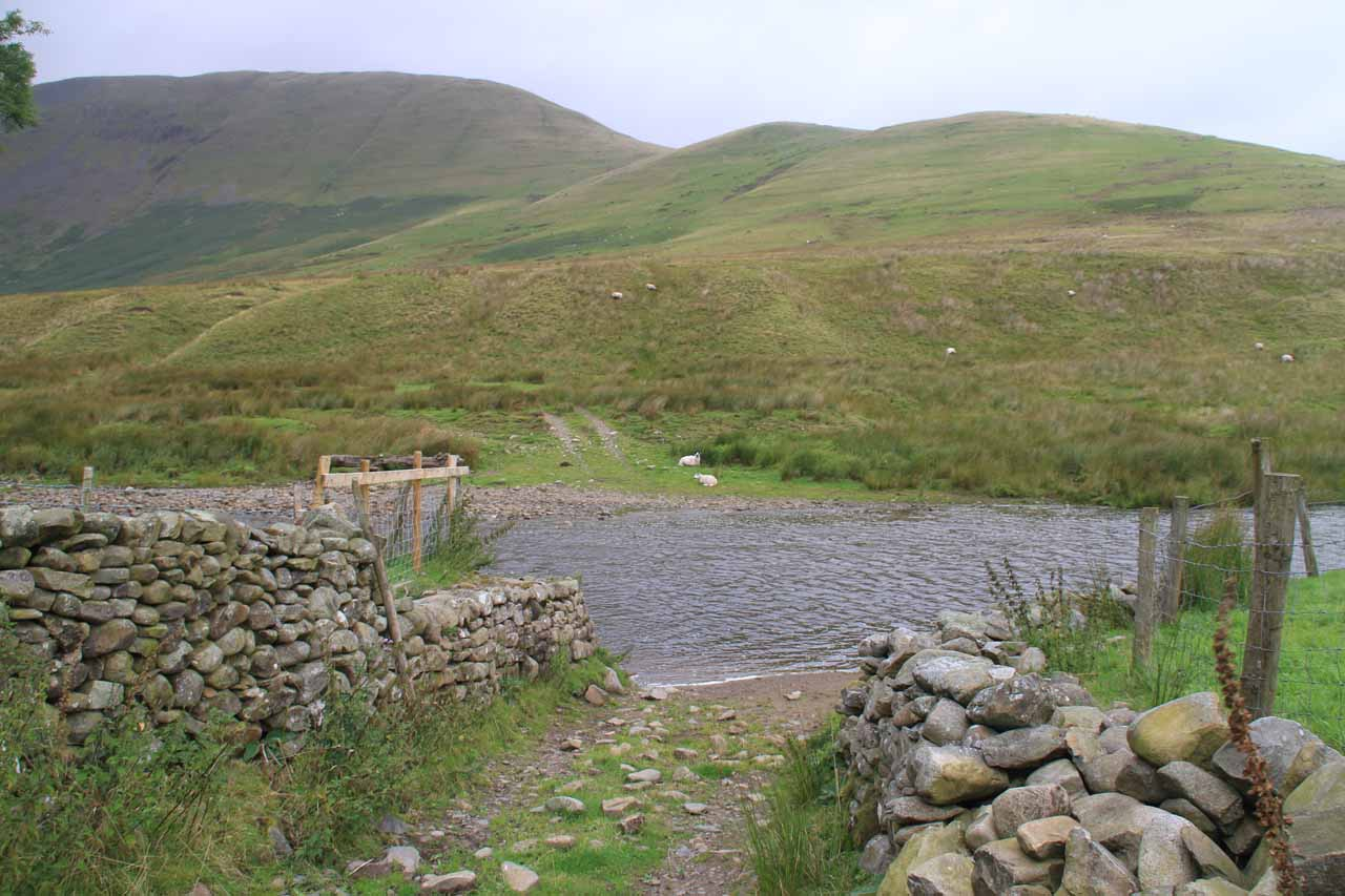 Approaching a fairly deep ford of a beck
