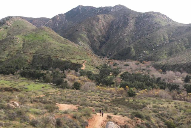 Cedar_Creek_Falls_078_01072017 - Context of hikers approaching the San Diego River Trail after having lost most of the elevation coming from the Ramona side
