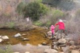 Cedar_Creek_Falls_096_01072017 - Julie helping Tahia get past one of the creek crossings of Cedar Creek in the final half-mile to the Cedar Creek Falls as of our January 2017 visit