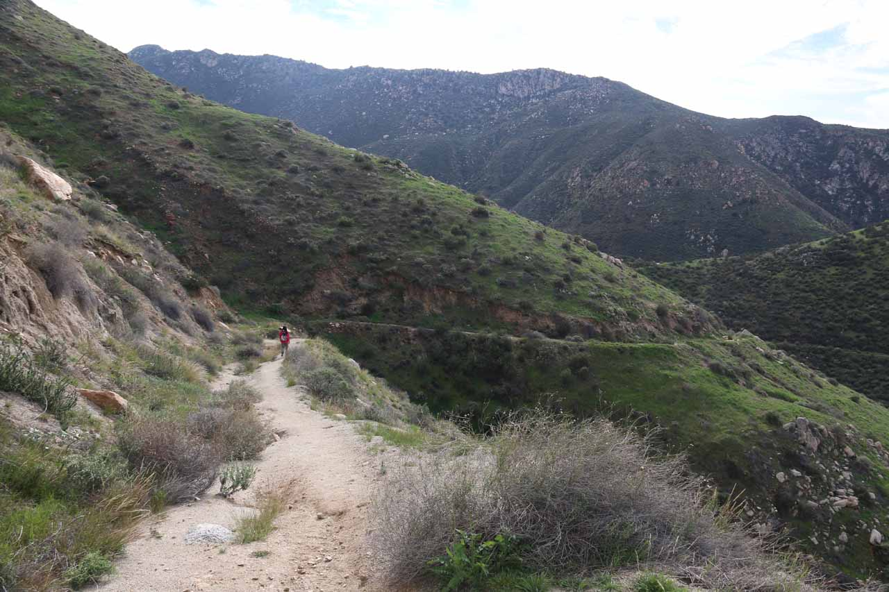 Context of the Julian-side trail hugging the mountains as it makes its descent to the San Diego River