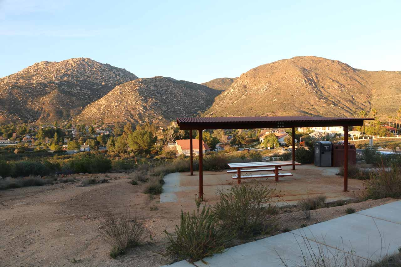 The Ramona side also has an attractive picnic shelter with a view of the nice homes within the San Diego Country Estates