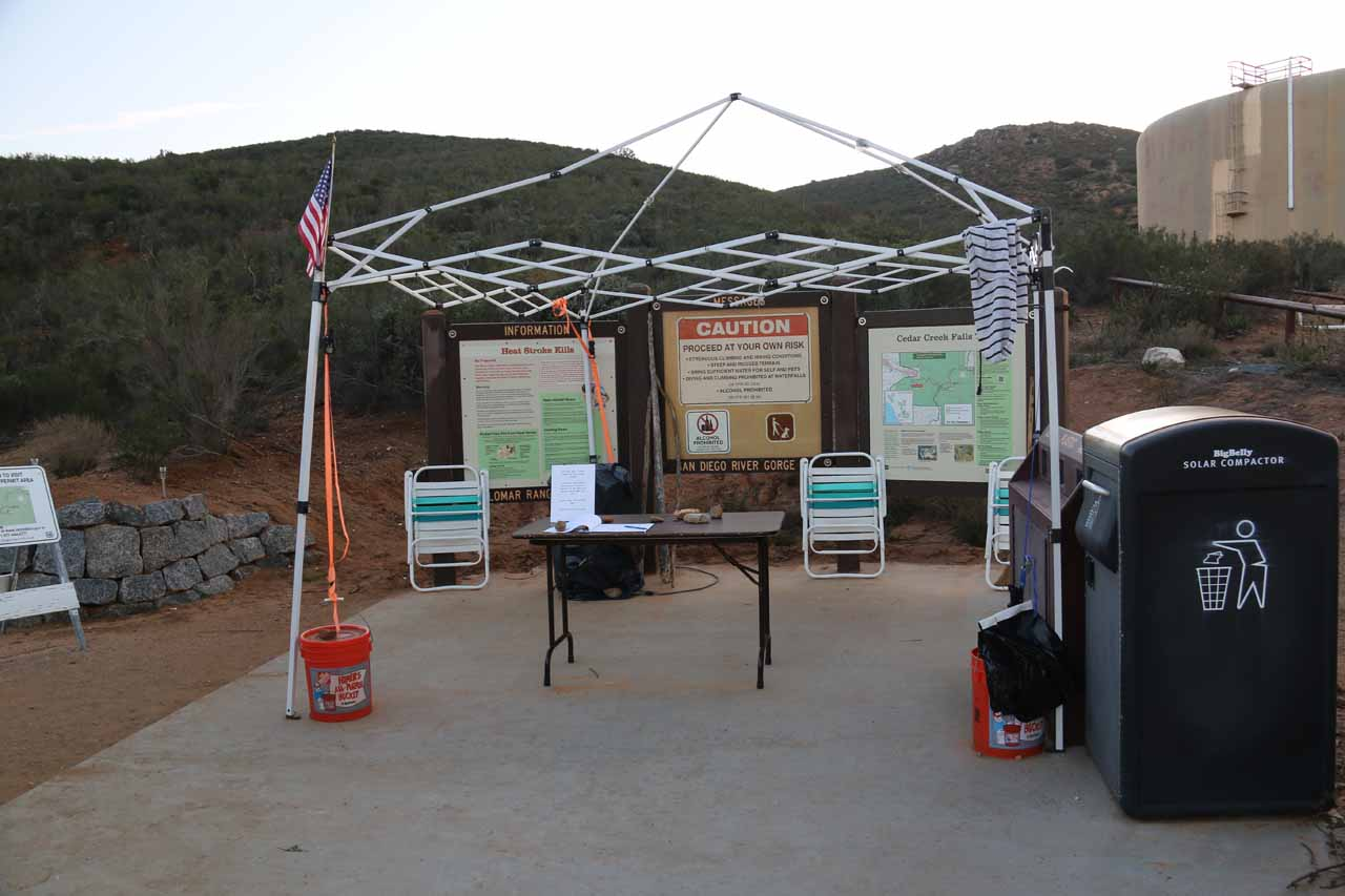 The Ramona side of the trail had us go by this check-in station, where there's typically someone on duty checking to see if you've got permits