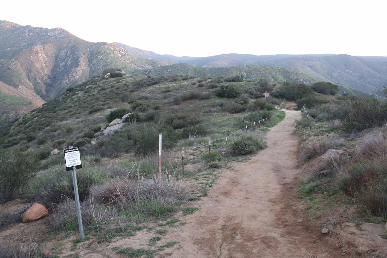 This part of the trail was flanked by wire fences to keep us on the main trail. It seemed like there used to be quite a bit of off-trail scrambling here in the past