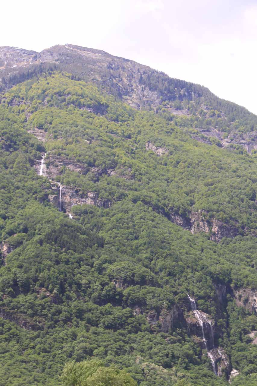 This tall mountain cascade was near the village of Cevio in the Valle Maggia of the Italian-speaking Ticino Canton