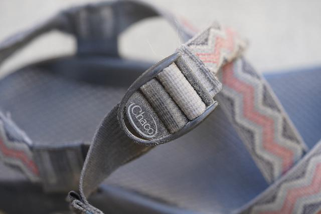 Closeup look at the strap adjustment of the Chaco Z/1 Classic Sandal, but you can also pull on the remainder of the strap around the front of the sandal