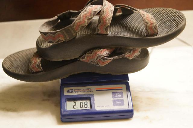 Weighing my Chaco Z/1 Classic Sandals, which came in at 2 lbs 8 oz