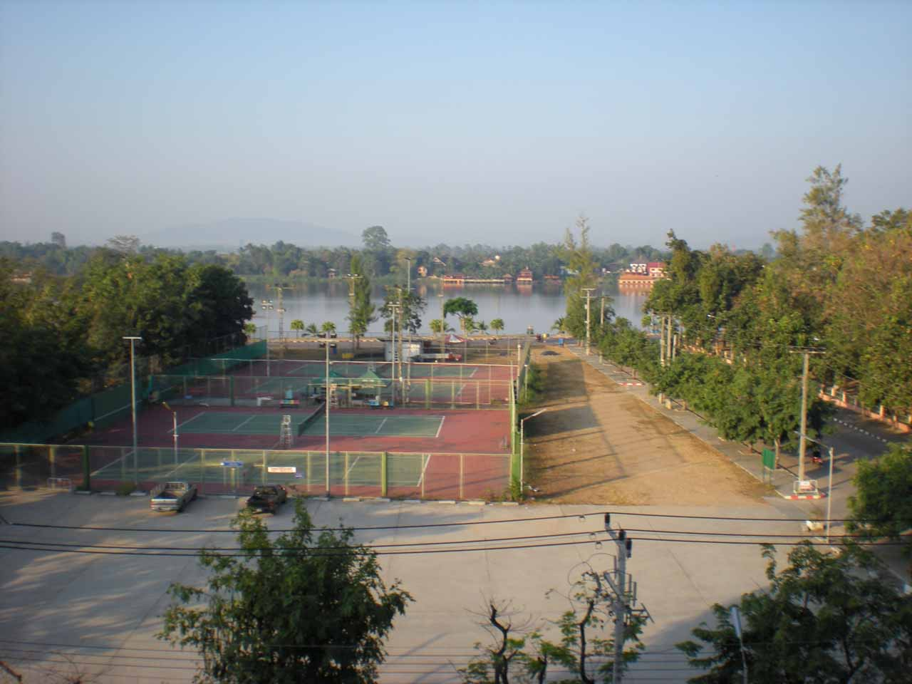 Looking over the tennis courts and towards the river from our hotel room