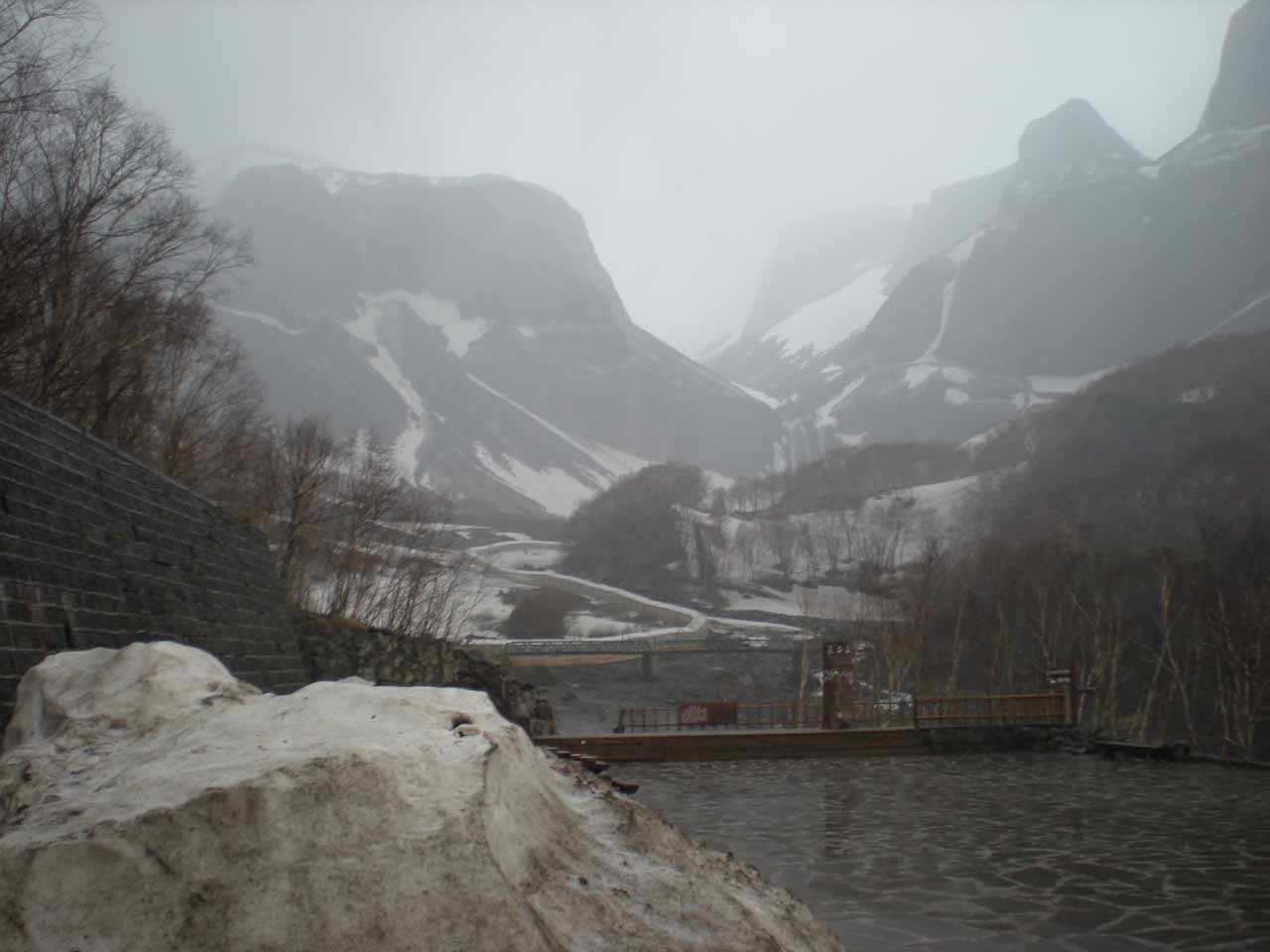 While we were waiting out the storm, we looked out the window and got this view looking in the direction of the Changbai Waterfall