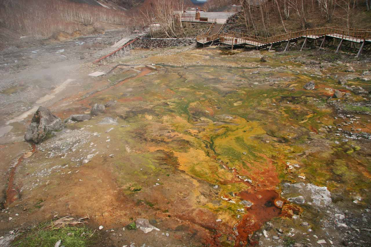 The colorful Julong Hot Spring seen on the trail up to the Changbai Waterfall