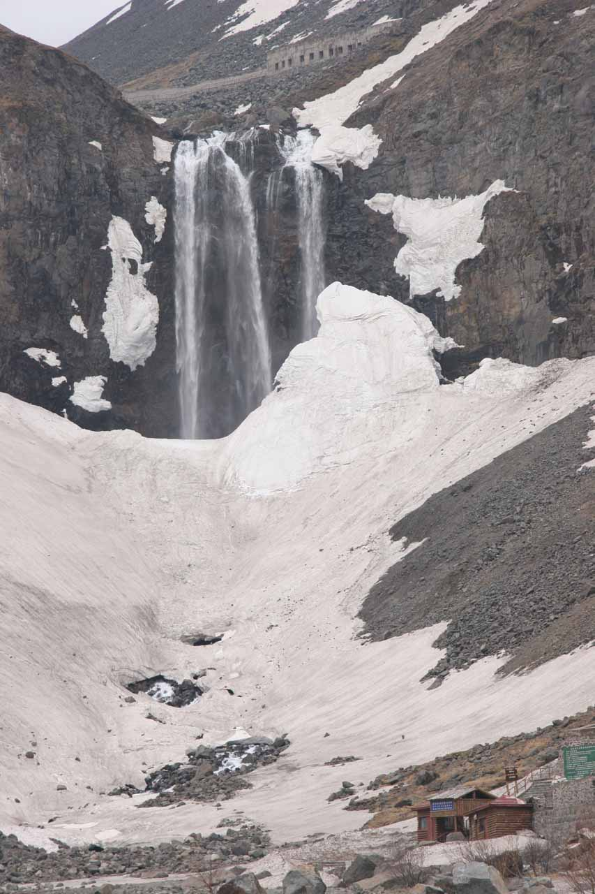 Closer look at the Changbai Waterfall, which was partially concealed by residual snow