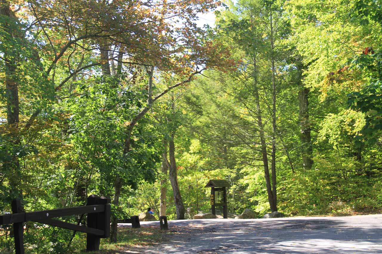 From the upper car park, the trail started across Foxtown Rd as indicated by the interpretive signs seen in this picture