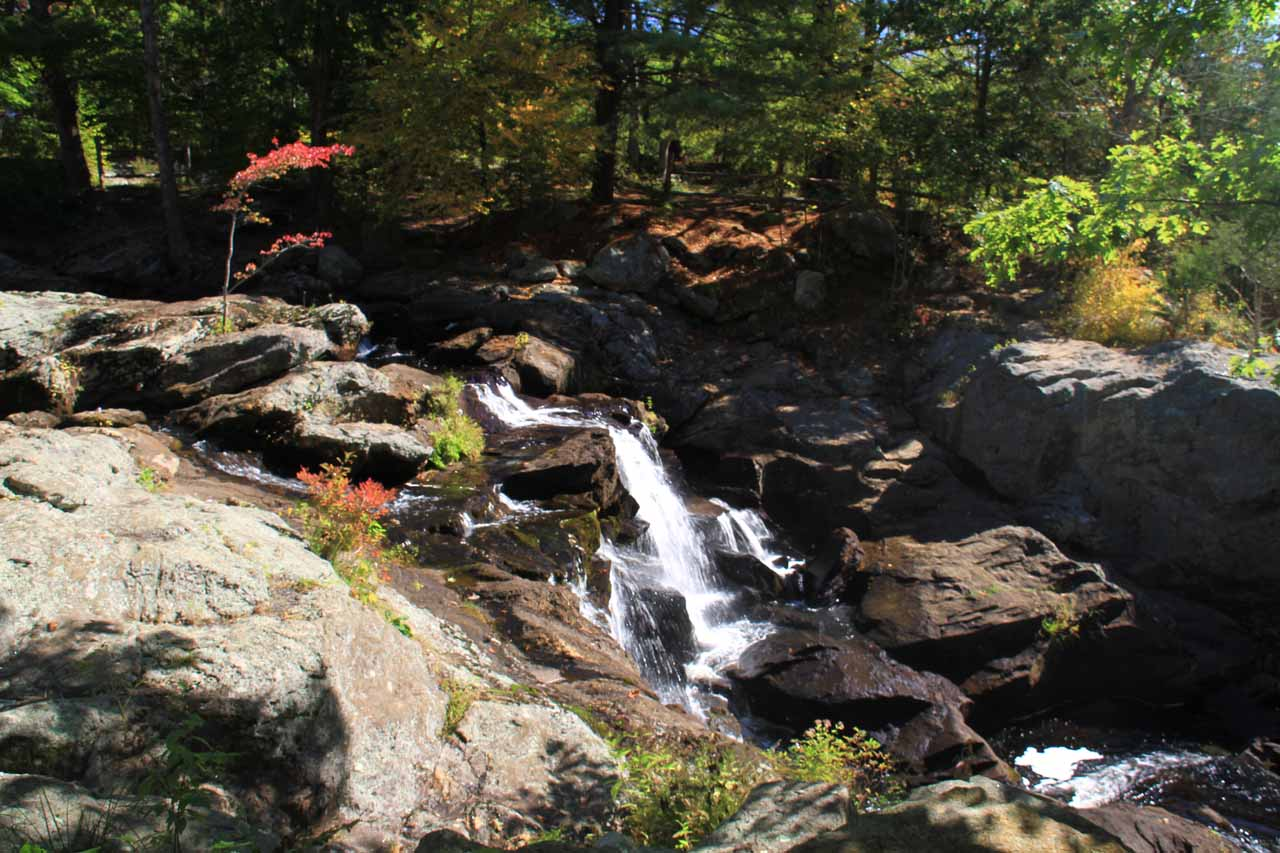 Profile view of some of the upper tiers of Chapman Falls as seen from the upper parts of the main trail