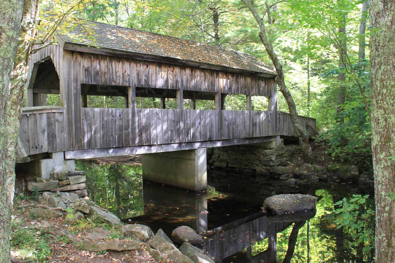 The covered bridge at the picnic area for Chapman Falls