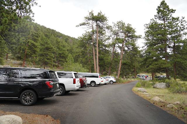 Chasm_Falls_hike_175_07282020 - The Lawn Lake Trailhead Parking Lot right at the start of the Fall River Road