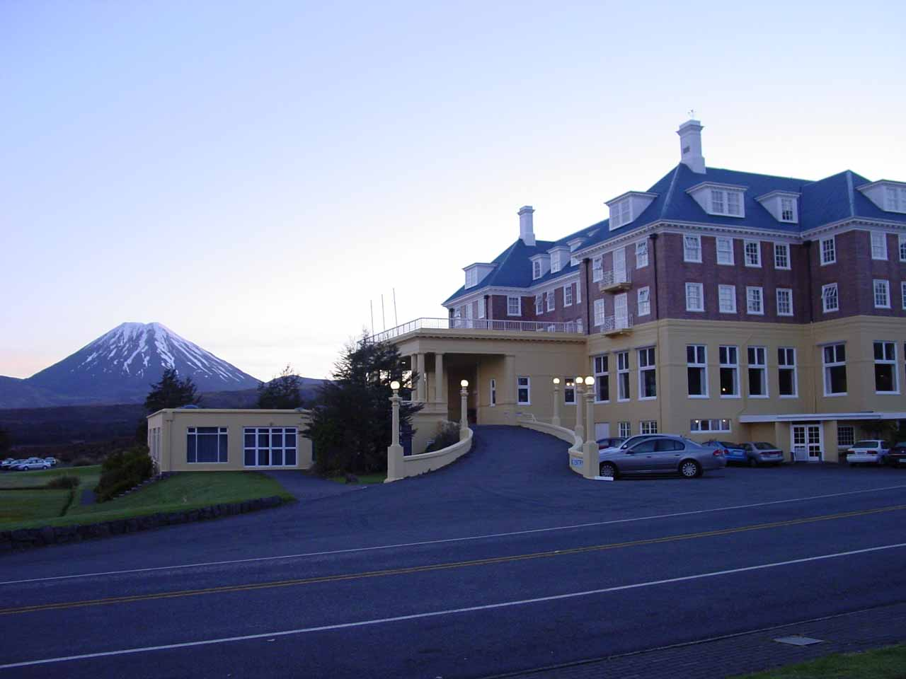 The Chateau Tongariro with Mt Ngauruhoe