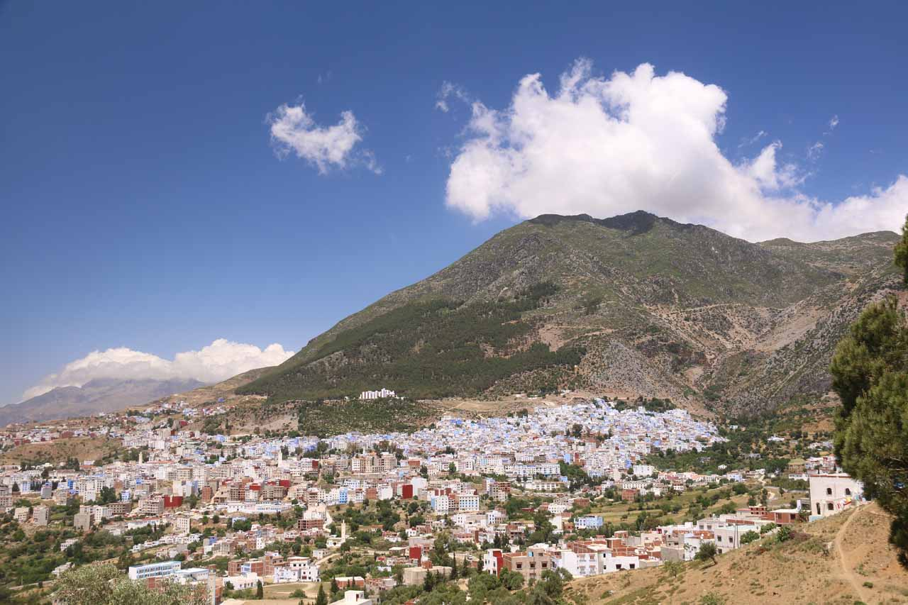 Panorama of the city of Chefchaouen near the Hotel Chaouen