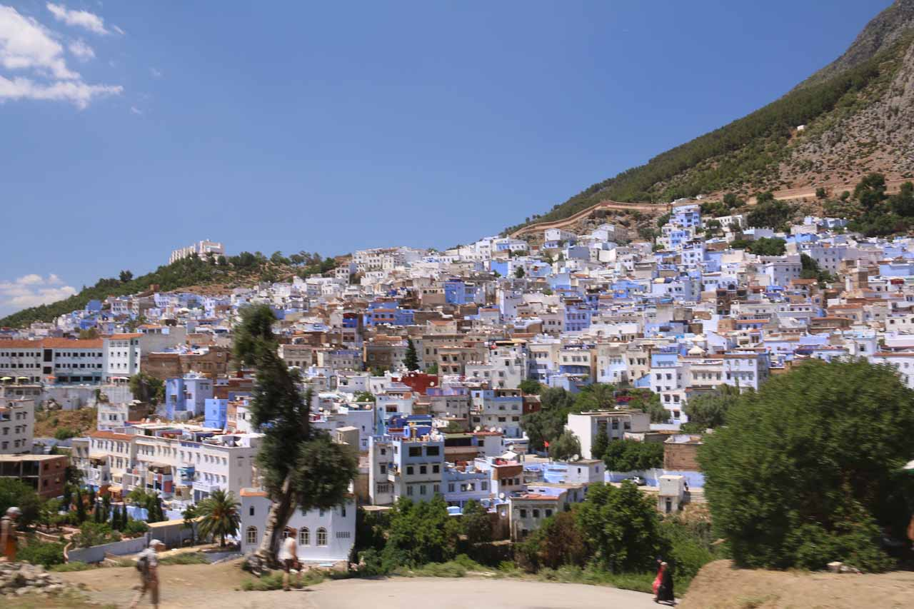 View of the city of Chefchaouen as we were leaving the Source Ras el-Maa