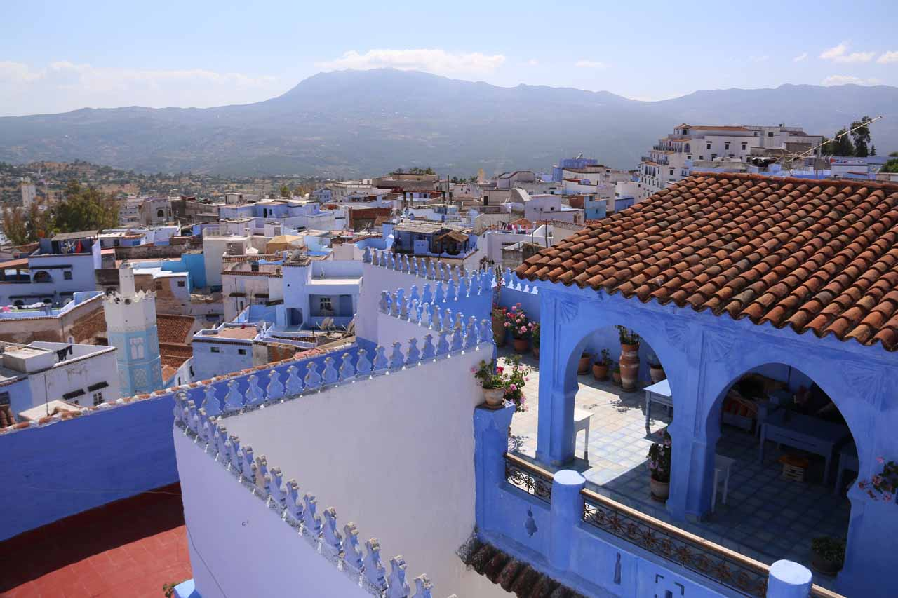 View from the terrace of our accommodation in Chefchaouen