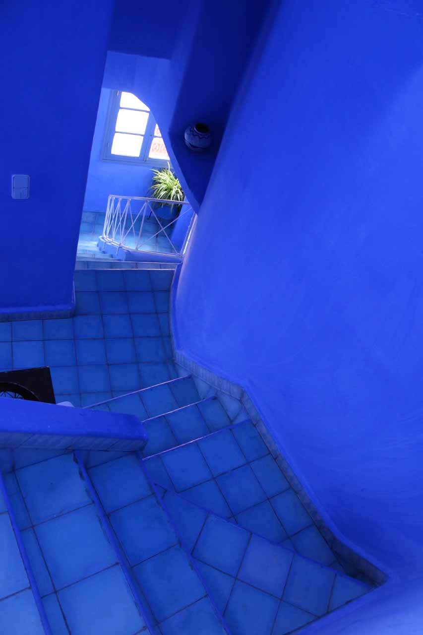 Inside the stairway leading up to the rooftop terrace of our accommodation in Chefchaouen