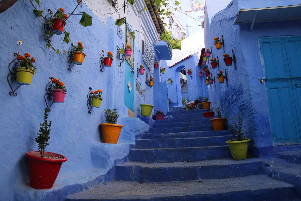 A very pretty stairway in the medina of Chefchaouen