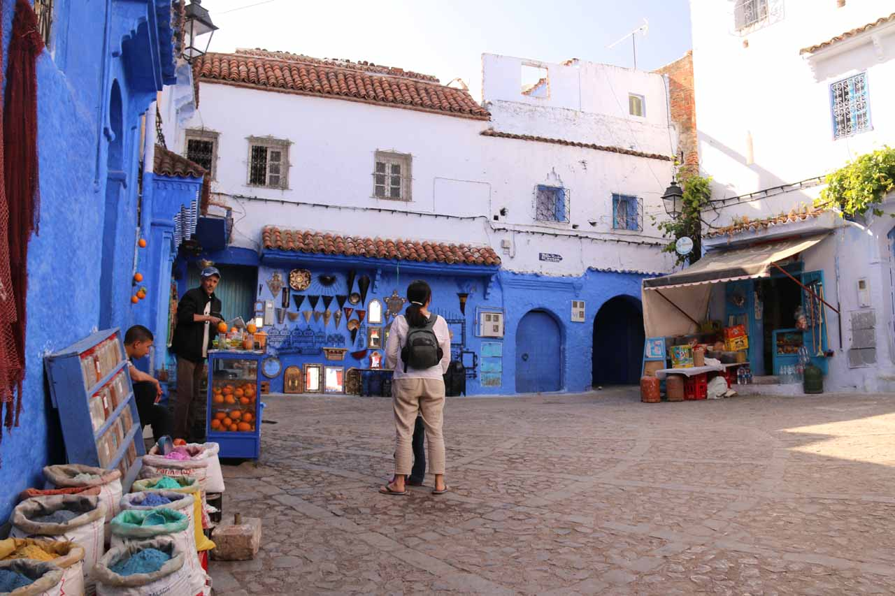 In a square where one local was selling freshly-squeezed orange juice in Chefchaouen