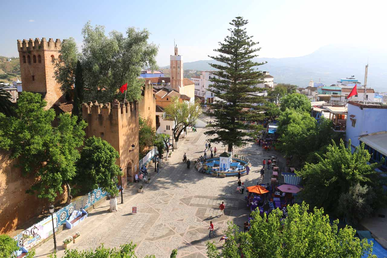 Looking down at the square that we were just at from the Aladdin Restaurant in Chefchaouen