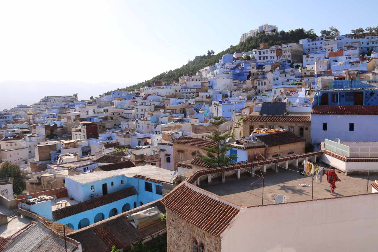 Panoramas of Chefchaouen's medina from the rooftop terrace of Aladdin