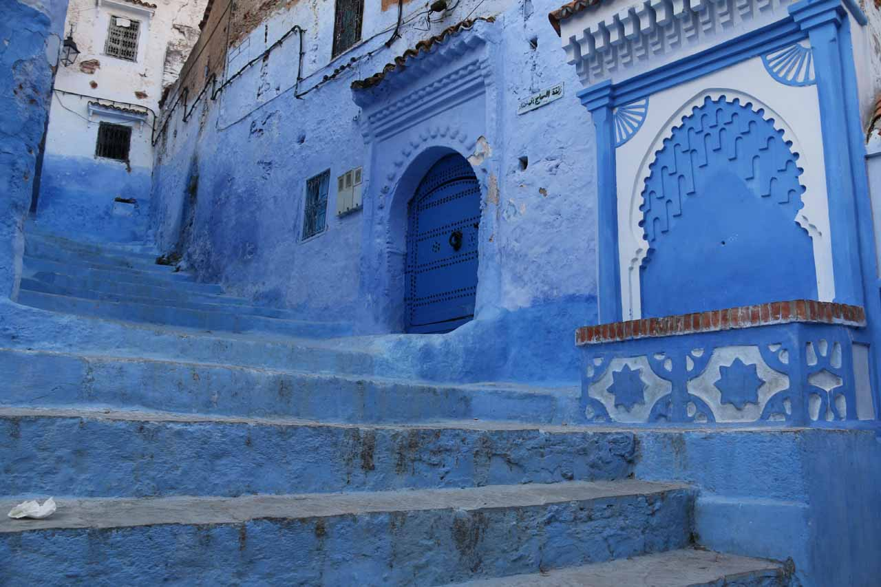 More charming buildings and stairs flanking the main throughfares of Chefchaouen's medina