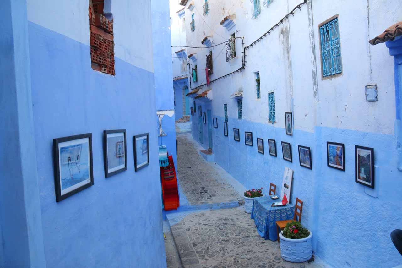 A particular alleyway flanked by a lot of paintings
